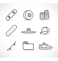 Skateboard accessories icons set vector