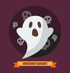 Spooky ghost greeting card vector