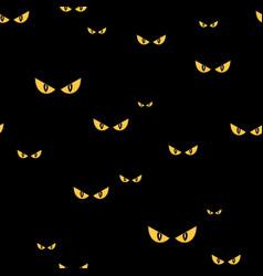 Spooky monster eyes in dark halloween seamless vector