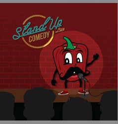 Stand up comedy open mic bell pepper vector