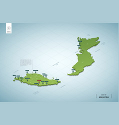 Stylized map malaysia isometric 3d green map vector
