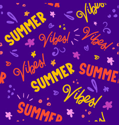Summer texts lettering seamless pattern design vector