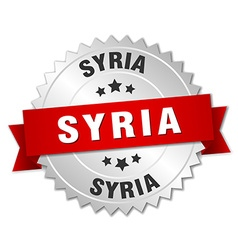 Syria round silver badge with red ribbon vector