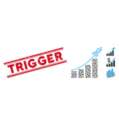 Textured trigger line stamp with mosaic startup vector