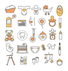 Thin line art style design baby icon set vector