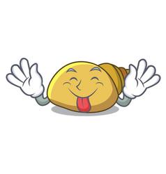 Tongue out mollusk shell mascot cartoon vector