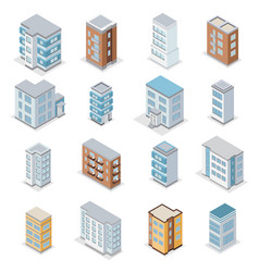 Townhouse building icons set vector