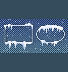 transparent frames covered with realistic snow vector image