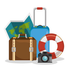 Traveling around world icon vector