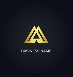 triangle sign business gold logo vector image