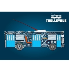 Trolleybus icon of detailed main components vector image