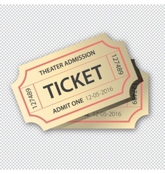 Two cinema tickets pair Isolated on transparent vector