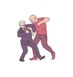 Two men in fight action strong angry man attack vector