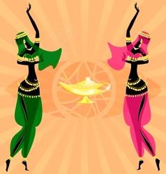 Two oriental dancing girls vector
