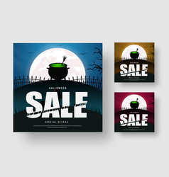 web banner template for a halloween sale with a vector image
