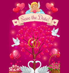 Wedding party card save date cupid and birds vector