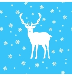 White deer amid the snow and stars vector image