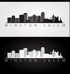 winstonsalem usa skyline and landmarks vector image