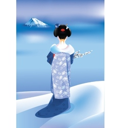 Winter geisha vector