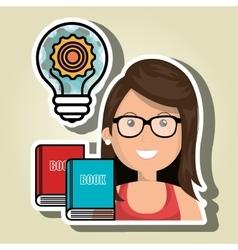 woman books idea icon vector image