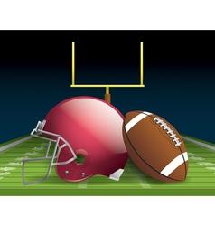 American Football and Helmet on Field vector image