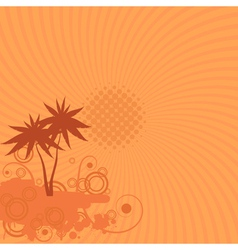 background with palm trees sun and swirls vector image