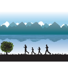Black silhouettes of running people Family vector image vector image