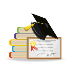 cute books with diploma and cap graduation vector image vector image