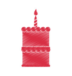 drawing red birthday cake sweet vector image