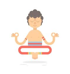 Flat meditating cartoon yogi character vector image
