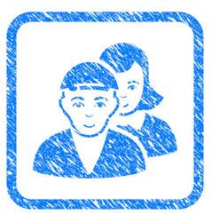 People pair framed stamp vector