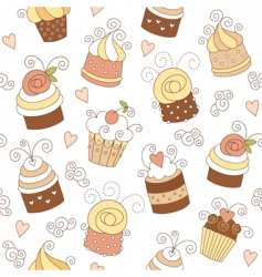 seamless pattern with cute cup vector image vector image