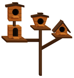 wooden bird houses on one pole vector image