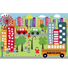 doodle city for children vector image vector image