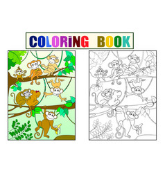 family of monkeys on a tree color book for vector image vector image