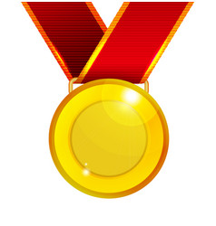 golden medal with red ribbon vector image vector image