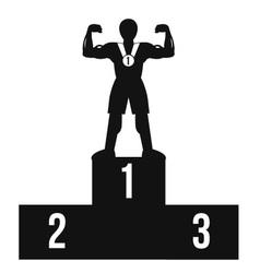 Bodybuilder on winner podium black icon vector image vector image
