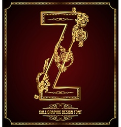Calligraphic font Letter Z vector image vector image