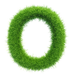 capital letter o from grass on white vector image