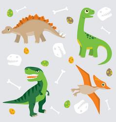 cute dinosaur pattern swatch vector image