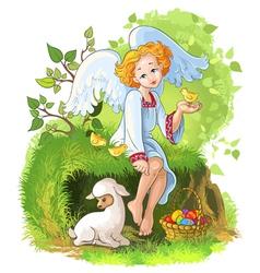 cute easter angel vector image