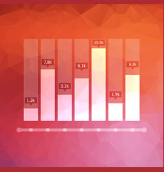 low polygonal graph icon with data markers vector image vector image