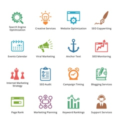 SEO and Internet Marketing Colored Icons- Set 5 vector image vector image