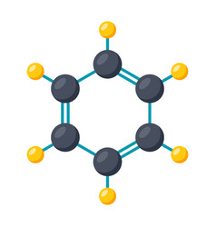 benzene molecular model vector image