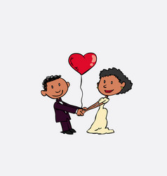 black newlyweds are holding hands they hold a vector image