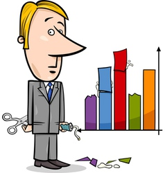 businessman and graph data cartoon vector image vector image