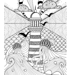 Hand drawn adult coloring page artistically Sea vector image vector image