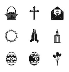 Holy easter icon set simple style vector