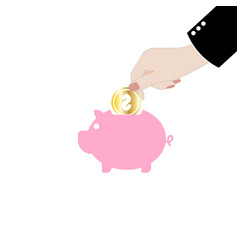 man putting coin into the piggy money vector image vector image
