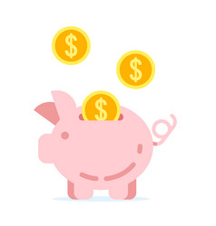 piggy bank with golden coins vector image